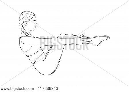 Yoga For Abs And Balance. Navasana For Strong Abs. Sketch Vector Illustration