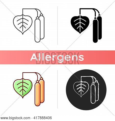 Birch Pollen Icon. Tree Leaf, Botanical Earing. Cause Of Allergic Reaction. Common Seasonal Allergen