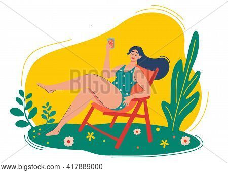 Young Girl Is Resting On A Chaise Longue In Nature. Vacation, Holiday, Rest, Tourism, Relaxation Con