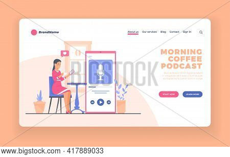 Podcast Listener, Mobile Service Or App Advertising Landing Page Vector Template Or Poster. Young Wo