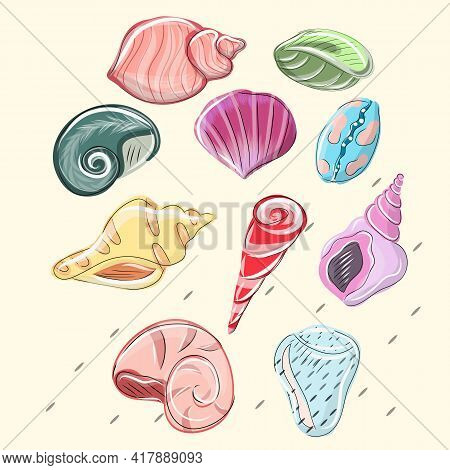 Watercolor Set Of Seashells On White Background For Your Menu Or Design. Summer Beach Sea Shells, Un