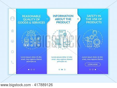 Fundamental Client Rights Onboarding Vector Template. Responsive Mobile Website With Icons. Web Page