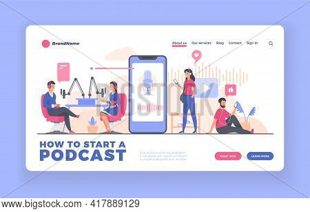 Podcast Advertising Landing Page Or Poster Template. People Recording And Listening Audio Podcast. M