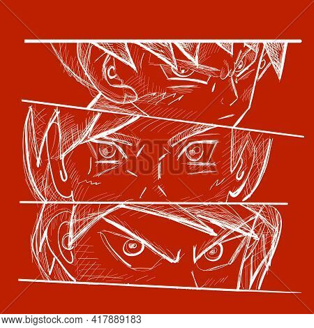 Manga Style. Japanese Cartoon Comic Concept. Anime Characters. Anime Faces And Eyes. Close Up Of Asi