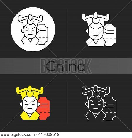 Chinese Opera Dark Theme Icon. Traditional Cantonese Performative Art. Classical Theater In Beijing.