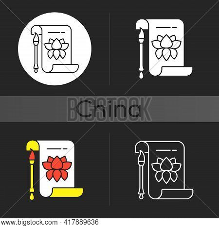 Chinese Calligraphy Dark Theme Icon. Traditional Oriental Art. Lunar New Year Ancient Ceremony. Lotu