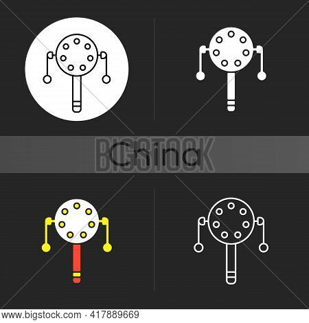 Pellet Drum Dark Theme Icon. Japanese Toy For Playing Percussion. Rattle For Kids. Eastern Ancient C
