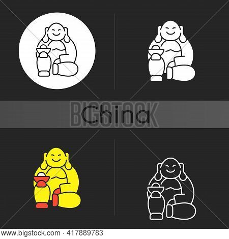 Laughing Buddha Dark Theme Icon. Pray For Prosperity, Wealth. Chinese Traditions. Feng Shui. Wish Fo