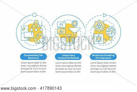 E-trash Recycling Paces Vector Infographic Template. Shredding, Sorting Presentation Design Elements