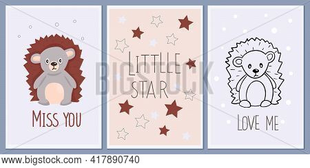 Set Of Templates For Greeting Cards And Party Invitations With Animals. Cute Hedgehog. Background Ch