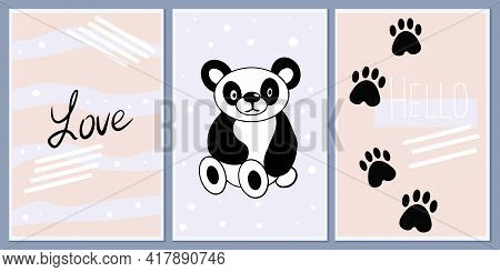 Set Of Templates For Greeting Cards And Party Invitations With Animals. Cute Panda. Background Child