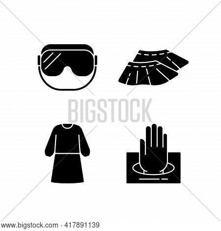 Disposable Medical Wear Black Glyph Icons Set On White Space. Protective Goggles. Shoe Covers. Docto