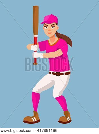Female Baseball Player In Attacking Position. Sportswoman In Cartoon Style.