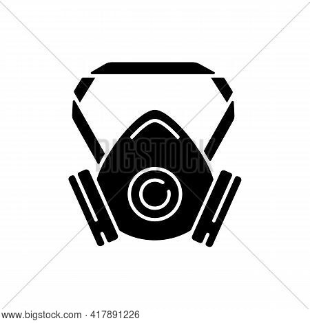 Respirator Black Glyph Icon. Protective Wear From Virus Infection. Air Filter To Prevent Flu Spread.