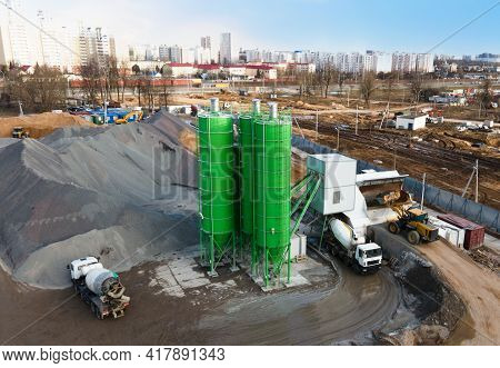 Ready Mix Concrete Batching Plant. Producing Oncrete And Portland Cement Mortar For Construction And
