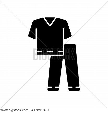 Scrub Suit Black Glyph Icon. Top, Trousers For Nurse. Suit To Work In Clinic. Protective Wear For Ho