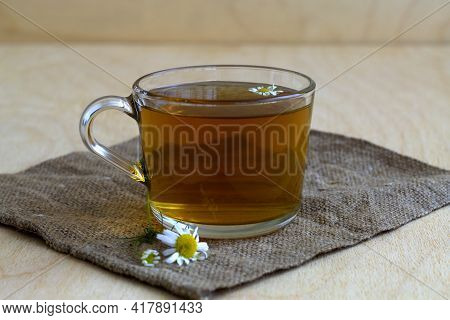 Cup Of Tea.glass Cup Of Hot Herbal Chamomile Tea On A Wooden Table With Copy Space With Fresh Flower