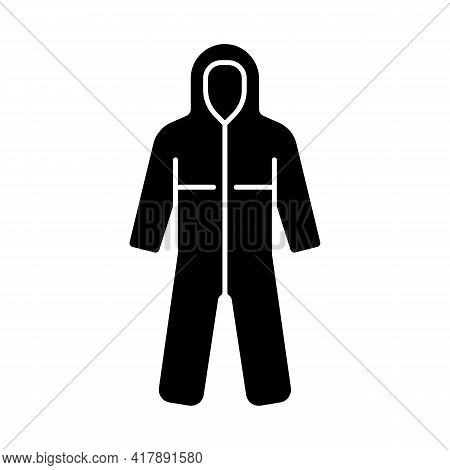 Medical Coveralls Black Glyph Icon. Protective Wear From Dangerous Contamination. Suit For Laborator