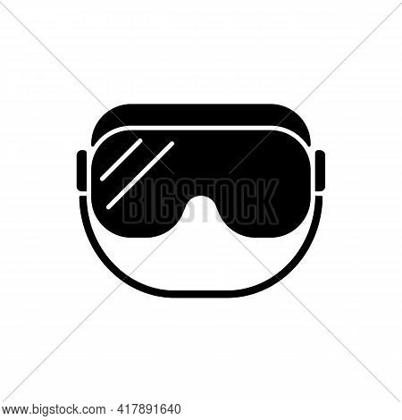 Medical Goggles Black Glyph Icon. Medical Equipment For Eye Protection. Protective Wear For Work In