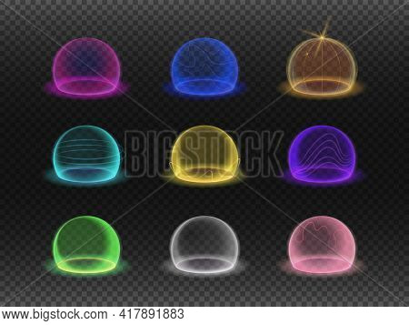 Bubble Shields, Protection Force Fields. Vector Realistic Set Of Safety Energy Barrier, Security Def