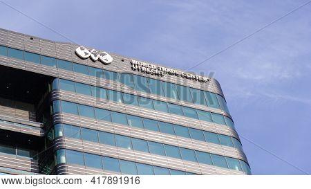 Utrecht, The Netherlands - 25 Feb, 2021: World Trade Center Utrecht Sign On Top Of The Wtc In Utrech