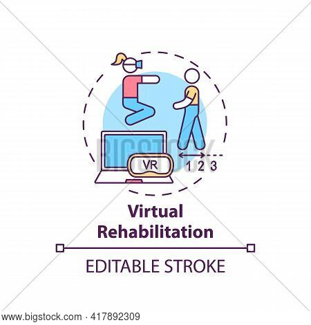 Virtual Rehabilitation Concept Icon. Rehabilitation Engineering Idea Thin Line Illustration. Virtual