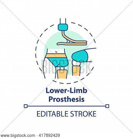 Lower-limb Prosthesis Concept Icon. Prostheses Type Idea Thin Line Illustration. Imitation Natural H