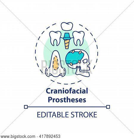 Craniofacial Prostheses Concept Icon. Prostheses Type Idea Thin Line Illustration. Malformed, Absent