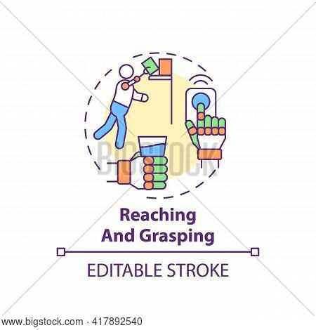 Reaching And Grasping Concept Icon. Upper-limb Prostheses Task Idea Thin Line Illustration. Sensory-