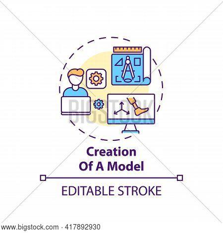 Model Creation Concept Icon. Artificial Limb Manufacture Idea Thin Line Illustration. Prosthesis Des