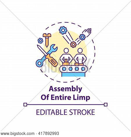 Entire Limb Assembly Concept Icon. Artificial Limb Manufacturing Step Idea Thin Line Illustration. B