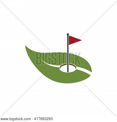 Illustration Vector Graphic Of Golf Hole Logo With Leaves
