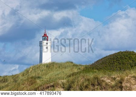 Lighthouse at Blavand, Denmark, dune in foreground, seagulls floating around