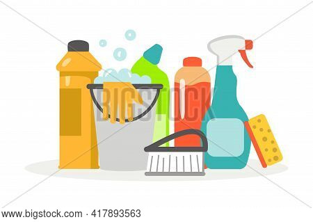 Cleaning Supplies Cleaning Service With Various Cleaning Tools Flat Vector Illustration Sanitary Che