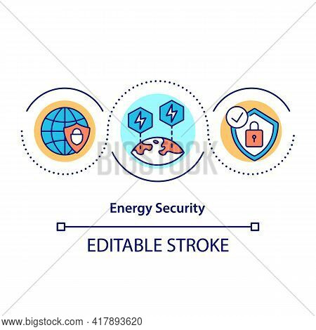 Energy Security Concept Icon. Availability Of Natural Resources For Energy Consumption. Access To Ch
