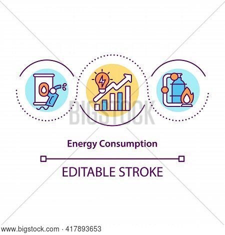 Energy Consumption Concept Icon. People Using Big Amount Of Energy Which Is Produced. Dealing With P