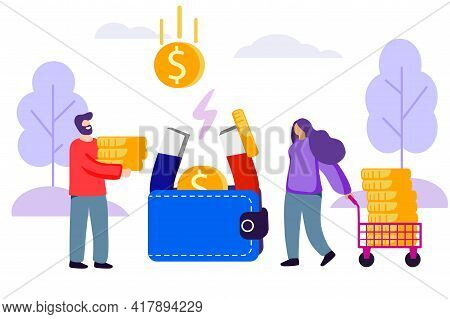 Wallet With Money Coins Vector Flat Illustration Financial Services Small Bankers Are Engaged In Wor