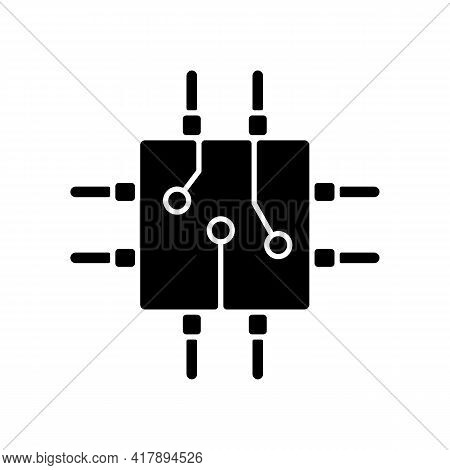 Circuit Board Design Black Glyph Icon. Create Plan How To Place All Microprocessors On Circuit Board