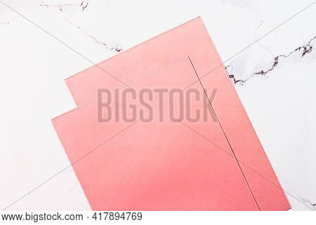 Pink A4 Papers On White Marble Background As Office Stationery Flatlay, Luxury Branding Flat Lay And