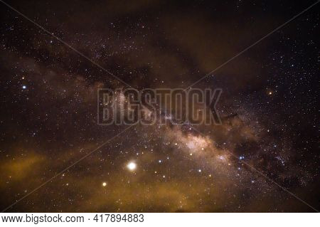 Landscape View With Milky Way Galaxy And Millon Star On The Sky In Night Time