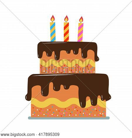 Birthday Cake Pastry For Holidays Birthday Party Elements Isolated Vector Illustration In Flat Style