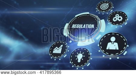 Internet, Business, Technology And Network Concept. Regulation Compliance Rules Law Standard. 3d Ill