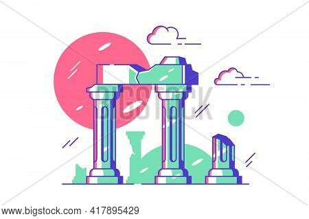 Antique Ruined Columns Of Old City Vector Illustration. Marble Stone Broken On Pieces Flat Style. Pa