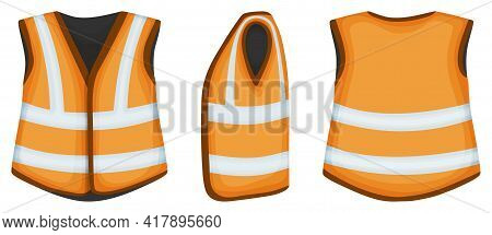 Safety Vest Vector Illustration On White Background . Jacket Of Worker Vector Cartoon Set Icon. Isol
