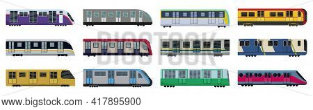 Subway Train Vector Illustration On White Background .set Cartoon Icon Transport Metro.vector Illust