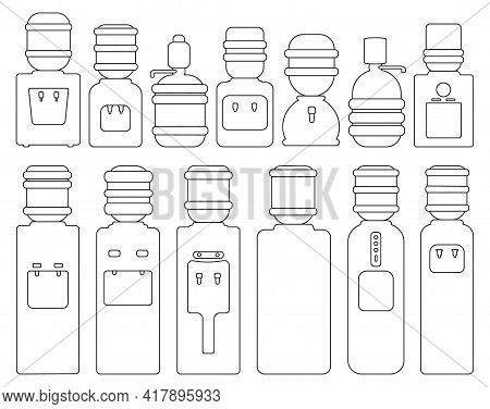 Water Cooler Vector Outline Set Icon. Vector Illustration Bottle On White Background. Isolated Outli