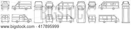 Ambulance Vector Illustration On White Background. Isolated Outline Set Icon Car Of Emergency. Vecto