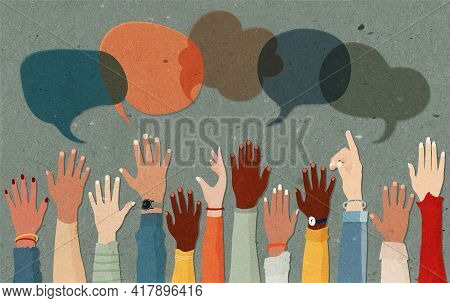 Anonymous Arms And Raised Hands Of Multiethnic Multicultural Group People.speech Bubble.crowd Divers