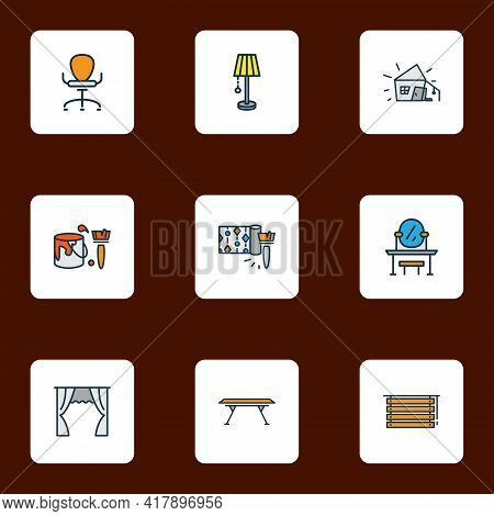 Decor Icons Colored Line Set With Dining Table, Wallpaper, Lamp And Other Paint Bucket Elements. Iso