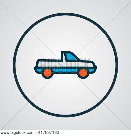 Pickup Icon Colored Line Symbol. Premium Quality Isolated Suv Element In Trendy Style.